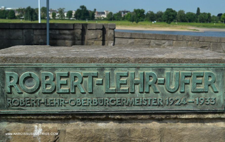 Typographic Memorial plaque dedicated to Robert Lehr, once, the mayor from of Düessseldorf.